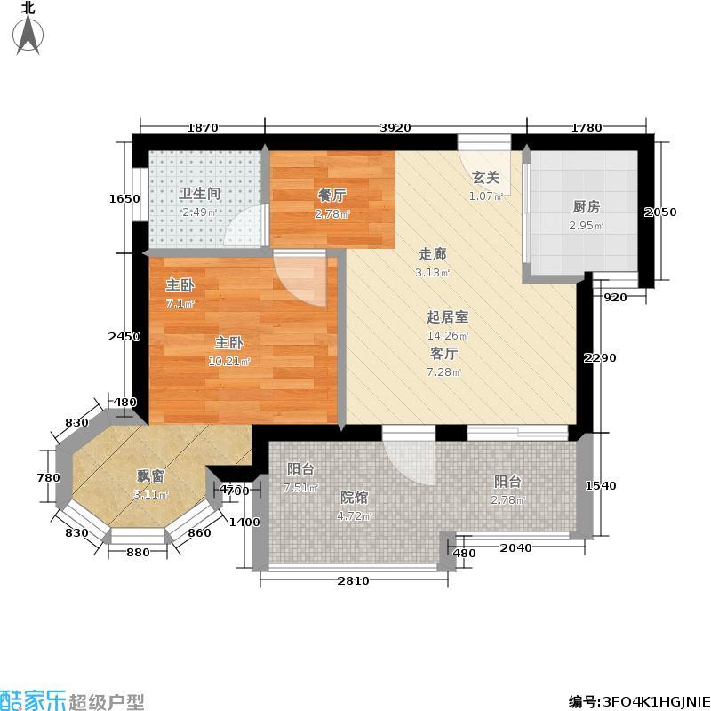 黑山谷假日国际43.21㎡一期洋房6/8/18号楼标准层户型