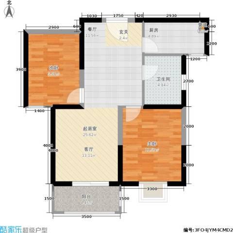 昆明时光2室0厅1卫1厨92.00㎡户型图
