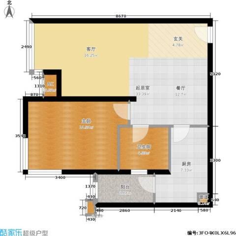 远中风华园1室0厅1卫1厨74.00㎡户型图