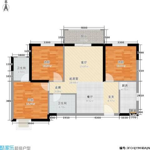 昆明时光3室0厅2卫1厨111.00㎡户型图