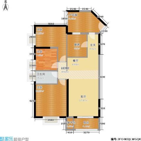 鑫苑国际城市花园3室0厅1卫1厨111.00㎡户型图