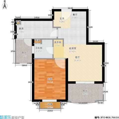 东方帕堤欧花园小城1室0厅1卫1厨71.00㎡户型图