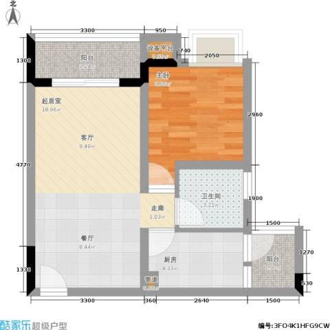 晶山新城际1室0厅1卫1厨60.00㎡户型图
