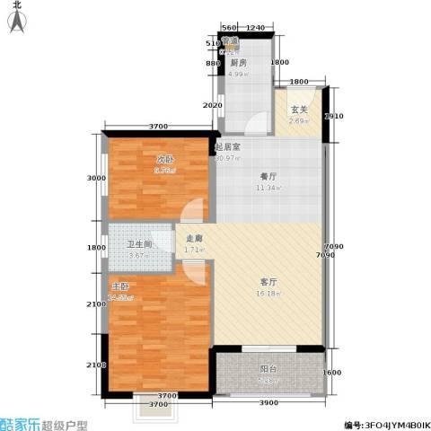 昆明时光2室0厅1卫1厨88.00㎡户型图
