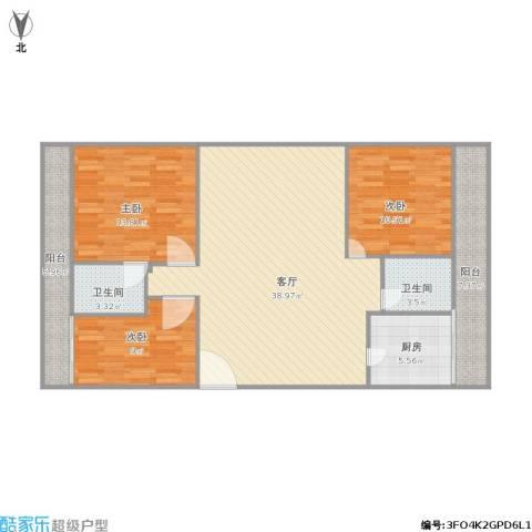 桂香苑3室1厅2卫1厨106.26㎡户型图