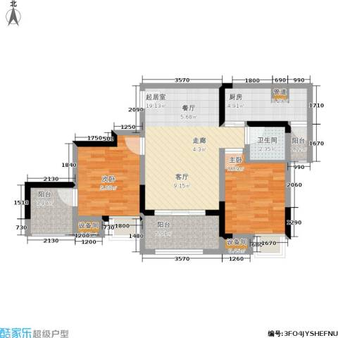 泽瑞琥珀天成2室0厅1卫1厨63.00㎡户型图