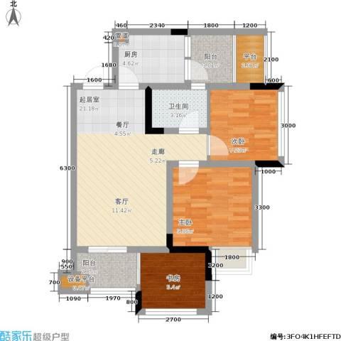 晶山新城际3室0厅1卫1厨88.00㎡户型图