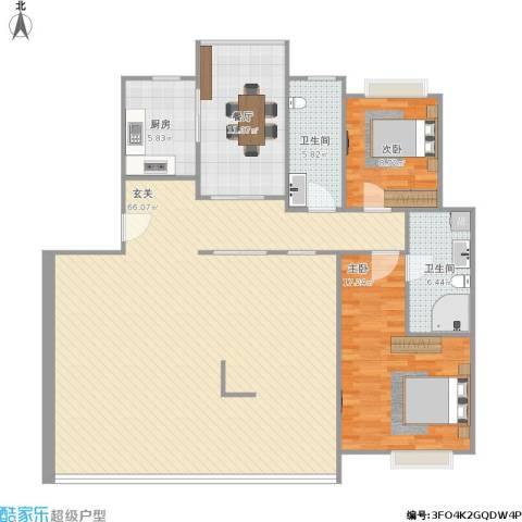 靳江明珠2室1厅2卫1厨162.00㎡户型图