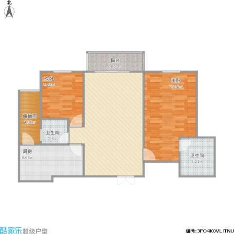 万科金色里程2室1厅2卫1厨104.00㎡户型图