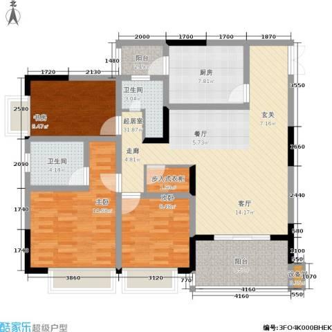 凤天锦园3室0厅2卫1厨104.00㎡户型图