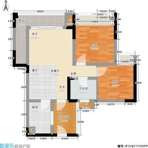 隆鑫花漾四季2室1厅1卫1厨60.00㎡户型图