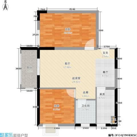 昆明时光2室0厅1卫1厨86.00㎡户型图