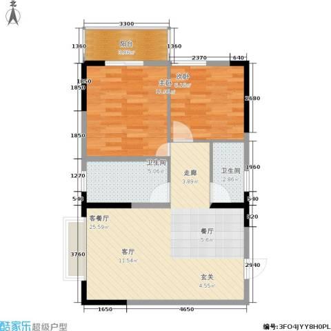阳光驿站2室1厅2卫0厨77.00㎡户型图