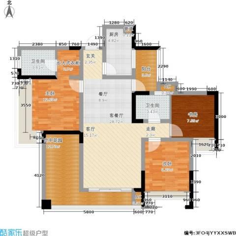 隆鑫花漾四季3室1厅2卫1厨90.00㎡户型图