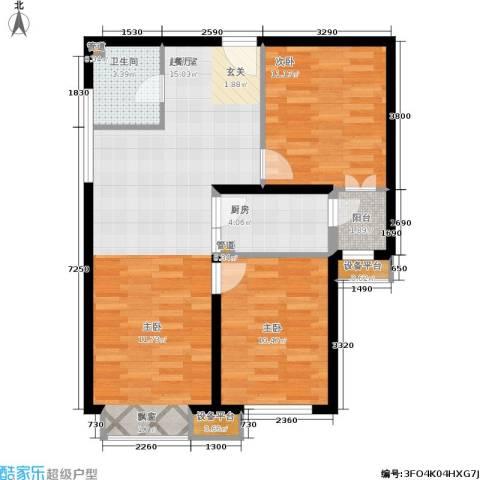 东洲家园2室0厅1卫1厨71.28㎡户型图