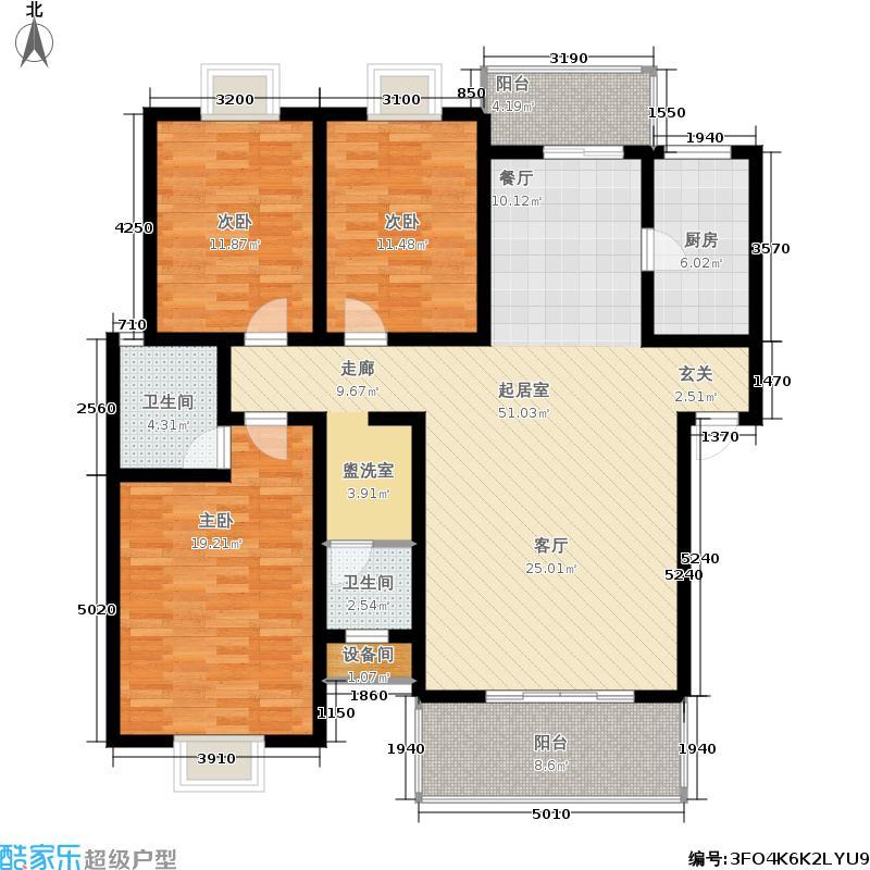 堂皇蓝湖郡129.00㎡三室两厅两卫户型