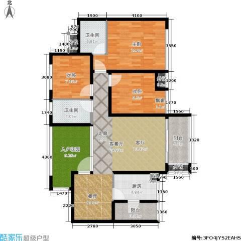 鲁能星城十二街区3室1厅2卫1厨105.00㎡户型图