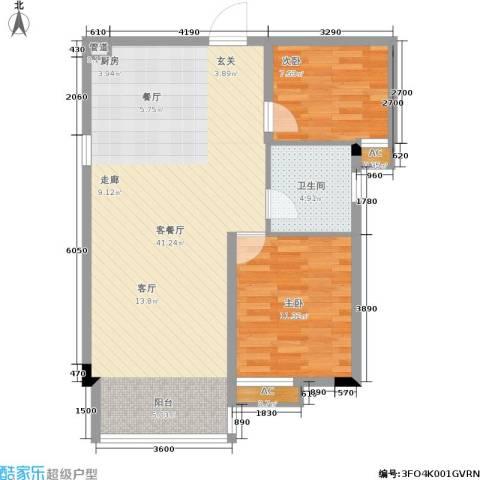 轻轨综合楼2室1厅1卫0厨92.00㎡户型图