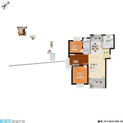 中茵龙湖国际2室1厅1卫1厨145.00㎡户型图