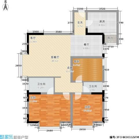 轻轨综合楼3室1厅2卫1厨113.00㎡户型图