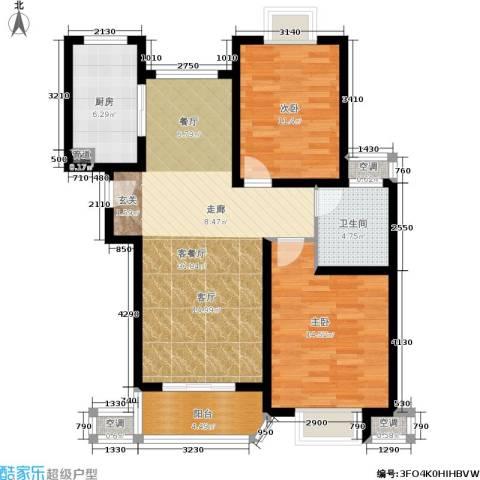 东方听潮豪园2室1厅1卫1厨87.00㎡户型图