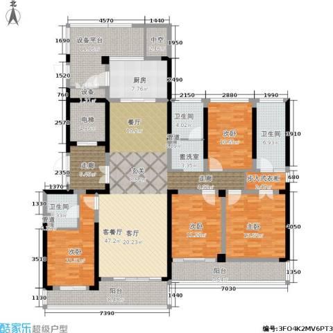 绿地华家池1号4室1厅3卫1厨186.00㎡户型图
