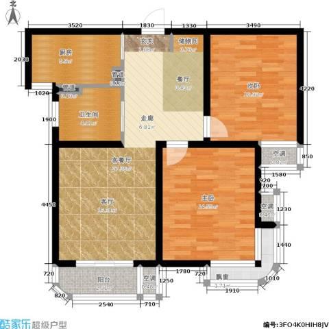 东方听潮豪园2室1厅1卫1厨84.00㎡户型图