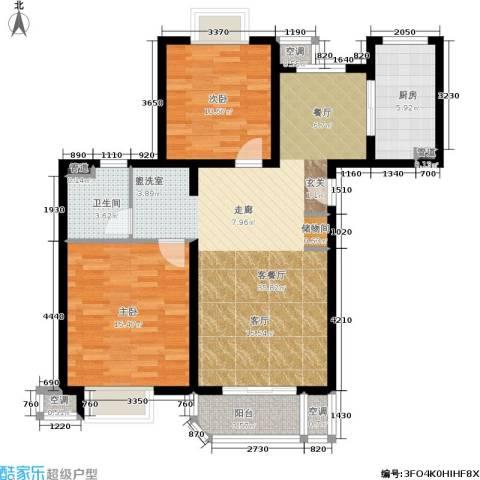东方听潮豪园2室1厅1卫1厨89.00㎡户型图
