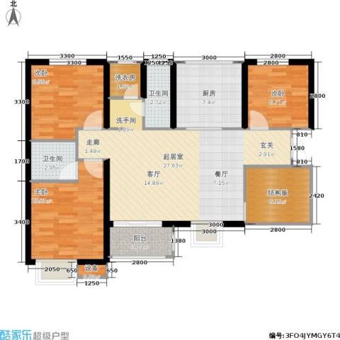 利君未来城3室0厅2卫1厨107.00㎡户型图