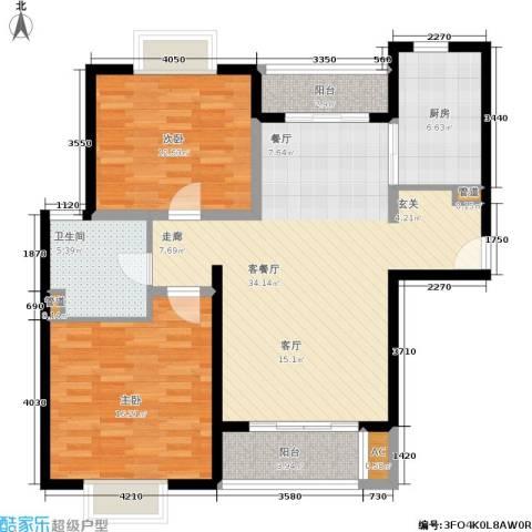 达安春之声花园2室1厅1卫1厨98.00㎡户型图