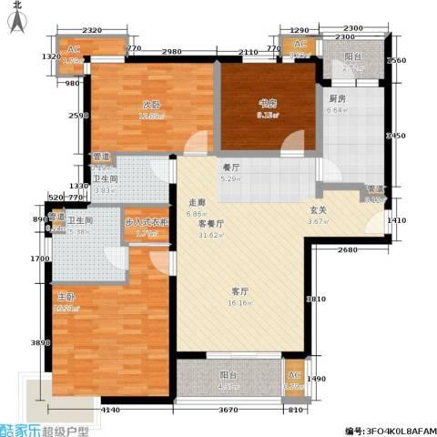 达安春之声花园3室1厅2卫1厨111.00㎡户型图