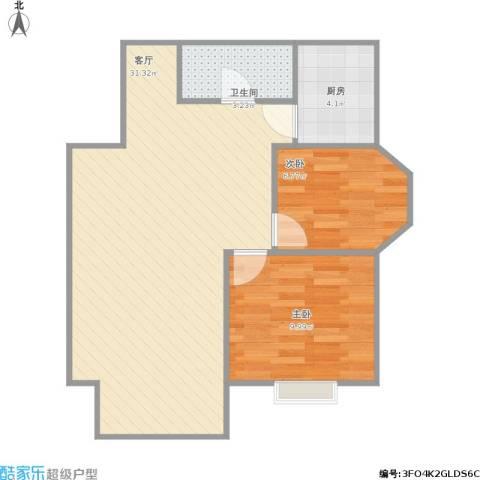 首开・国风美仑2室1厅1卫1厨74.00㎡户型图