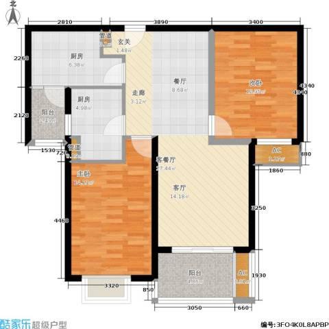 达安春之声花园2室1厅0卫2厨87.00㎡户型图