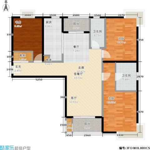 达安春之声花园3室1厅2卫1厨97.76㎡户型图