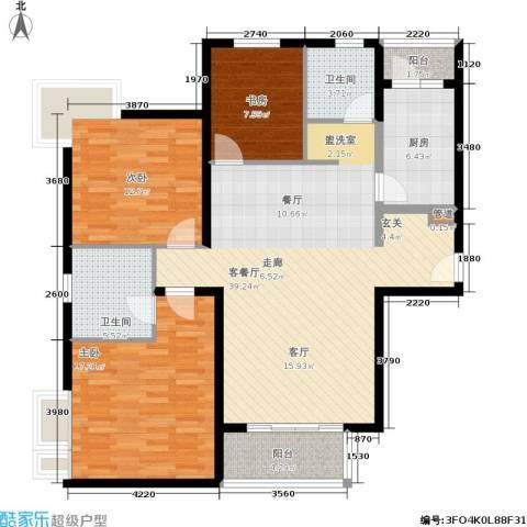 达安春之声花园3室1厅2卫1厨112.00㎡户型图