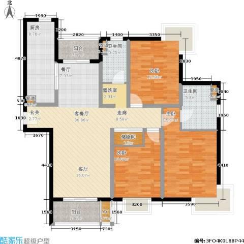 达安春之声花园3室1厅2卫1厨123.00㎡户型图
