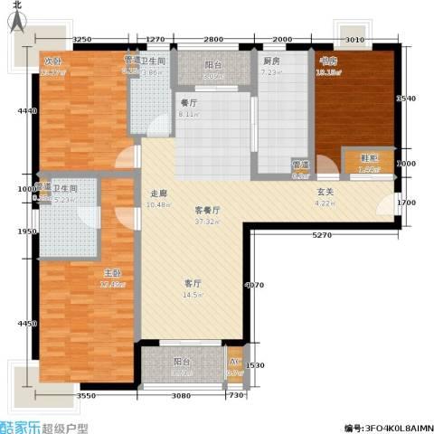 达安春之声花园3室1厅2卫1厨120.00㎡户型图