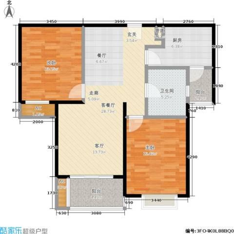 达安春之声花园2室1厅1卫1厨86.00㎡户型图
