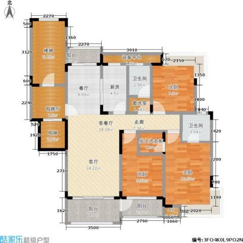 丰水宝邸西苑3室1厅2卫1厨112.00㎡户型图