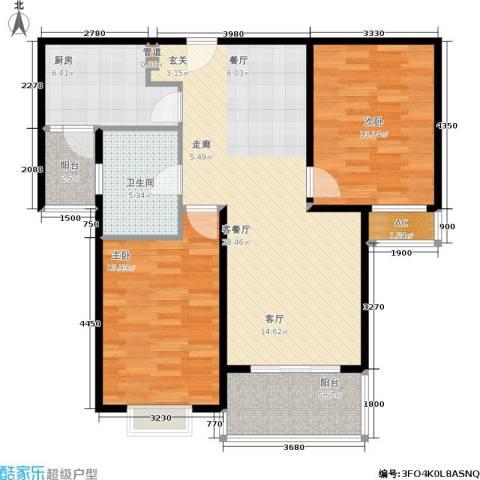 达安春之声花园2室1厅1卫1厨87.00㎡户型图