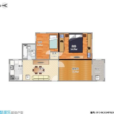 玉兰小区2室1厅1卫1厨83.00㎡户型图