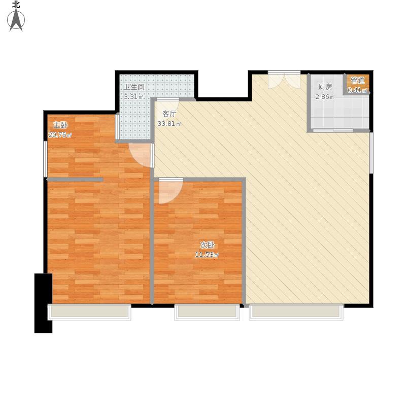 七彩云南第壹城74.48㎡两室两厅一卫户型2室2厅1卫 - 副本-副本