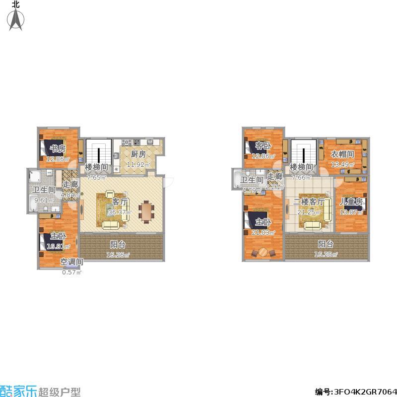 泰达风景188.38m²四室两厅两卫跃层的扩建方案