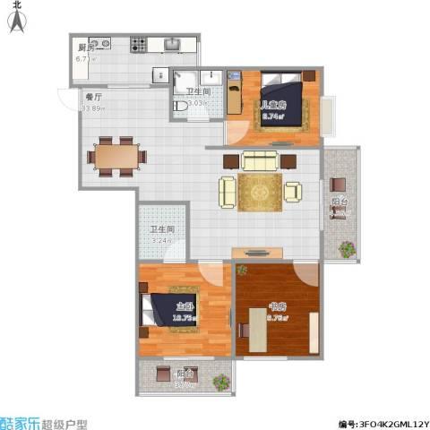 盛城东星3室1厅2卫1厨112.00㎡户型图