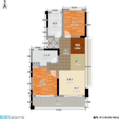 绿地华家池1号2室1厅1卫1厨87.00㎡户型图