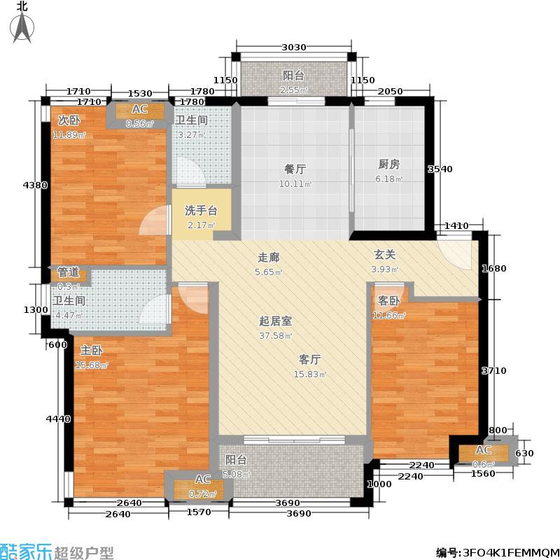 万科海上传奇114.00㎡二期小高层15#J湖光房户型