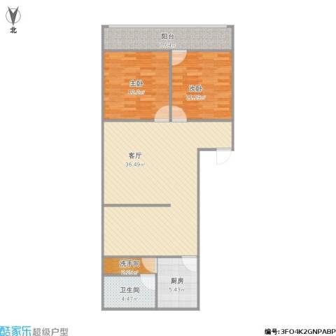 鸿建花园1号2室1厅1卫1厨107.00㎡户型图