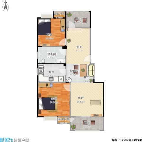 明鸿春晓2室1厅1卫1厨112.00㎡户型图
