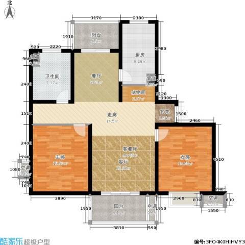 东方听潮豪园2室1厅1卫1厨118.00㎡户型图