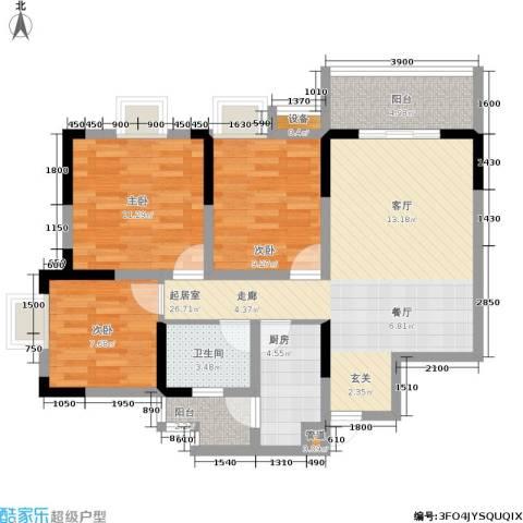 廊桥水岸3室0厅1卫1厨91.00㎡户型图